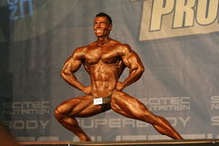 Bodybuilder in a competition Stock Images
