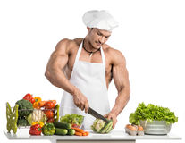 Bodybuilder cook Royalty Free Stock Image