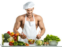 Bodybuilder cook Royalty Free Stock Photography