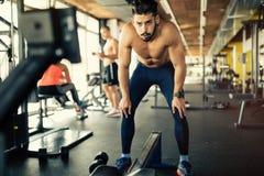 Bodybuilder déterminé dans le gymnase photographie stock libre de droits