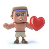 Bodybuilder 3d hält ein rotes Herz Lizenzfreie Stockbilder