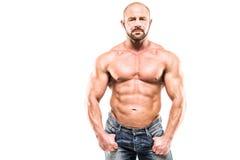 Bodybuilder d'isolement sur le fond blanc Photographie stock libre de droits