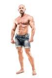 Bodybuilder d'isolement sur le fond blanc Image libre de droits