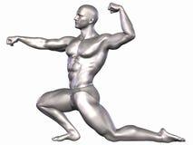 Bodybuilder de plata stock de ilustración