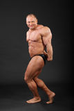 Bodybuilder demonstrates arms and legs muscles Stock Images