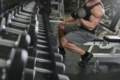 Bodybuilder, der mit bumbbells Gewichten an der Turnhalle ausarbeitet Lizenzfreie Stockbilder