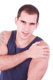 Bodybuilder, der Schulterschmerz hat Stockbilder
