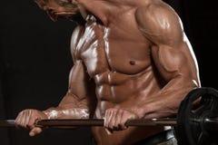Bodybuilder die Bicepsen met Barbell uitoefenen royalty-vrije stock foto's