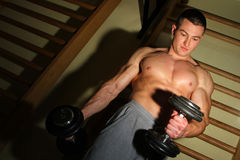 Bodybuilder die hard opleiden Royalty-vrije Stock Foto
