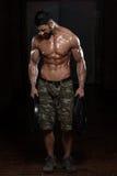 Bodybuilder die Trapezius met Gewichten uitoefenen royalty-vrije stock fotografie