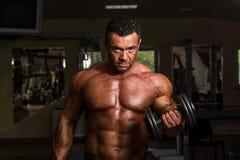 Bodybuilder die zwaargewicht oefening voor bicepsen met domoor doen stock foto