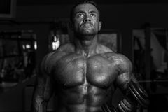 Bodybuilder die zwaargewicht oefening voor bicepsen met domoor doen stock foto's
