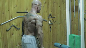 The bodybuilder do exercises for a triceps in the gym. The bodybuilder do exercises for a triceps in the gym stock footage