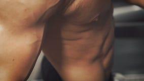 Bodybuilder do his run cardio workout stock footage