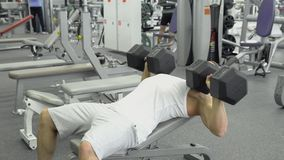 Bodybuilder does bench press using dumbbells at the gym. Muscular man exercising in the gym stock photo