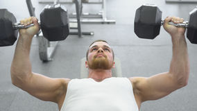 Bodybuilder does bench press using dumbbells at the gym. Muscular man exercising in the gym royalty free stock photography