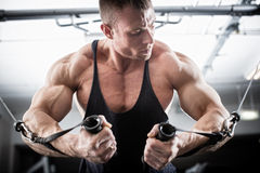 Bodybuilder doing butterfly on cable pull. For better definition of his arm muscles Royalty Free Stock Photos