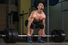 Bodybuilder Doing Deadlift For Back Royalty Free Stock Image
