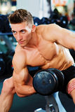 Bodybuilder doing dumbbell exercise Stock Photos