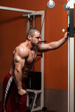 Bodybuilder Doing Exercise For Triceps Royalty Free Stock Photos