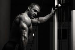 Bodybuilder Doing Exercise For Triceps Stock Photo