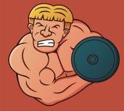 Bodybuilder Doing Heavy Dumbbell Curl Cartoon Stock Photos