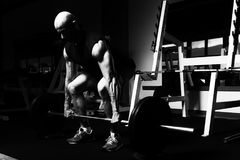 Back Exercise With Barbell In Fitness Center. Bodybuilder Doing Heavy Weight Exercise For Back With Barbell In Modern Gym Stock Image