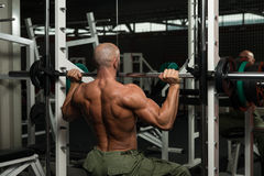 Bodybuilder Doing Heavy Weight Exercise For Shoulder Stock Images