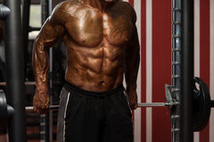 Bodybuilder Doing Heavy Weight Exercise For Trapezius Royalty Free Stock Photo