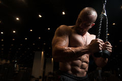 Bodybuilder Doing Heavy Weight Exercise For Triceps With Cable stock photography