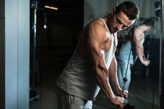 Bodybuilder Doing Heavy Weight Exercise For Triceps With Cable Stock Photo