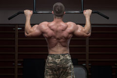 Bodybuilder Doing Pull Ups Best Back Exercises Royalty Free Stock Photos