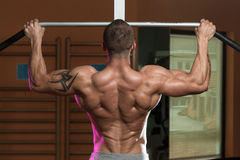 Bodybuilder Doing Pull Ups Best Back Exercises Stock Image