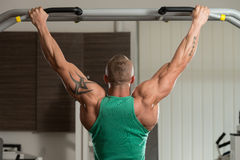 Bodybuilder Doing Pull Ups Best Back Exercises Royalty Free Stock Image