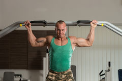 Bodybuilder Doing Pull Ups Best Back Exercises Stock Photography