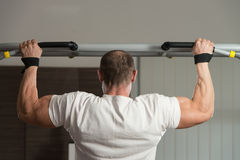 Bodybuilder Doing Pull Ups Best Back Exercises Royalty Free Stock Photography