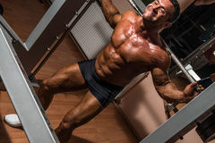 Bodybuilder doing squat with barbell. Body builder doing squat with barbell Royalty Free Stock Photo
