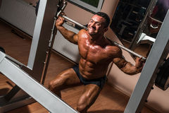 Bodybuilder doing squat with barbell Royalty Free Stock Photography