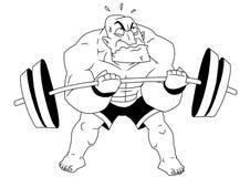 Bodybuilder drôle de bande dessinée Image libre de droits