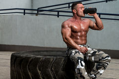 Bodybuilder Drinking stock photos