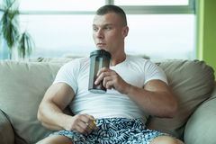 Bodybuilder Drinking Water From Shaker Stock Photo