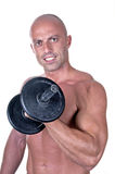 Bodybuilder dumbbell Royalty Free Stock Photography