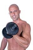 Bodybuilder dumbbell. On white background Royalty Free Stock Photography