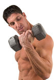 Bodybuilder with dumbbell Royalty Free Stock Images