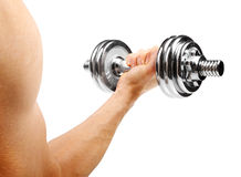 Bodybuilder with dumbbell in the hand isolated on white Stock Photo