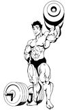 Bodybuilder with dumbbell. Illustration,ink,black and white,logo,outline,isolated on a white Stock Images