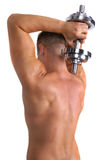 bodybuilder dumbbell mienie Obraz Stock