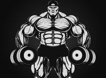 Bodybuilder with dumbbell. Vector illustration, bodybuilder with dumbbell Stock Photography