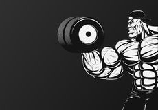 Bodybuilder with dumbbell Royalty Free Stock Photo