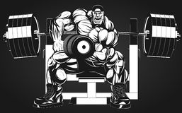 Bodybuilder with dumbbell. Vector illustration, bodybuilder doing exercise with dumbbells for biceps Royalty Free Stock Photos